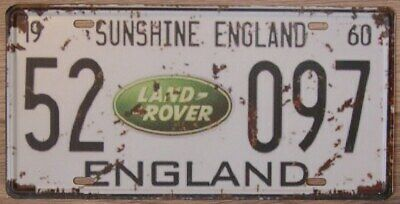 LAND ROVER METAL TIN SIGN NUMBER PLATE Shed, Garage, Bar Shabby Chic,plaque, UK • 6.99£