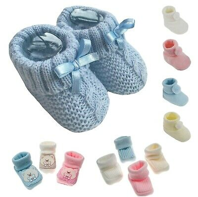 NEW Baby Newborn Boys Girls Cute Booties Boots Shoes Knitted Bobble Bootees UK • 3.29£