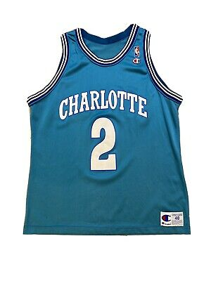 $ CDN105 • Buy Vintage Champion Larry Johnson LJ Grandmama Charlotte Hornets Jersey Sz 48 NBA 2