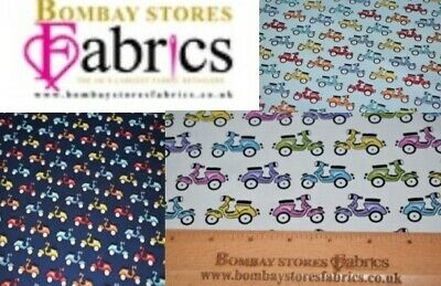 100% Poplin Cotton Motorcycle Print Fabric 44  Wide , Excellent Quality • 3.75£