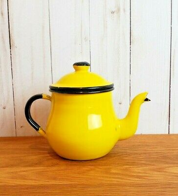 $20.99 • Buy Vintage Enamel Tea Pot Bright Yellow Black Trim Enamelware Japan 5  Small Decor