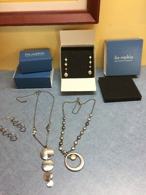 $ CDN24.43 • Buy Lot Of 3 Lia Sophia Silver Tone Jewelry With Boxes. 2 Earrings, 2 Necklaces