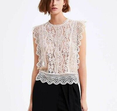 $29.90 • Buy 7/1 Zara Sleeveless Floral Lace Ruffled Beige Pink Top Xs S Xl 8741/240