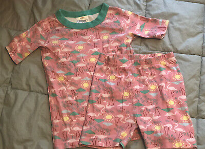 $9.99 • Buy Hanna Andersson Girls Short Sleeved Pink Flamingos Pajamas 120 / 6-7 EUC