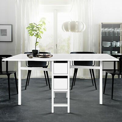 AU163.90 • Buy Artiss Dining Table Extendable Folding Tables Drawers Storage White Restaurant