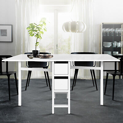 AU187.90 • Buy Artiss Dining Table Extendable Folding Tables Drawers Storage White Restaurant