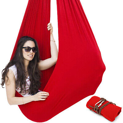 Red Sensory Swing Chair Hanging Seat For Kids Or Adults Tree Rope Autism Therapy • 22.49£