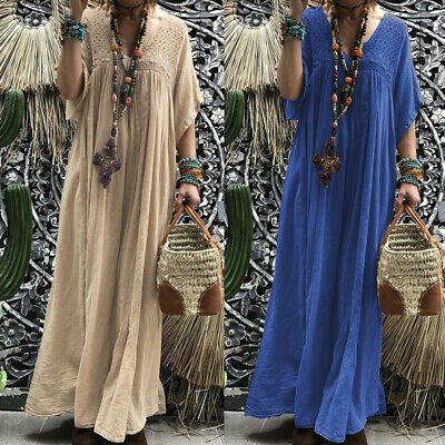 AU18.99 • Buy ZANZEA Women Casual Lace Sundress Kaftan Loose Baggy Plus Size Long Maxi Dress