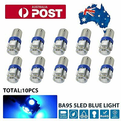 AU14.98 • Buy 10pcs BA9S LED BULB 5SMD BLUE PARKER CAR GLOBE INTERIOR Super Bright T4W H6W