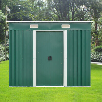 New 8ft X 4ft Metal Garden Storage Shed Pent Roof Outdoor With Free Foundation • 249.99£