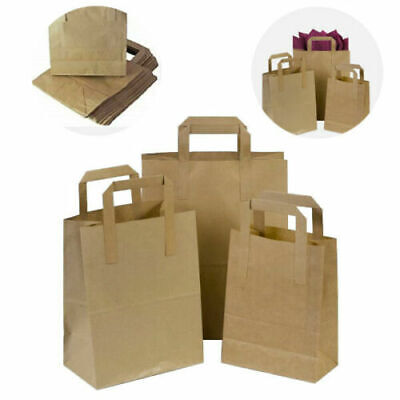 Strong Brown White Kraft Paper SOS Carrier Bags With Handles Food Takeaway Etc • 3.05£