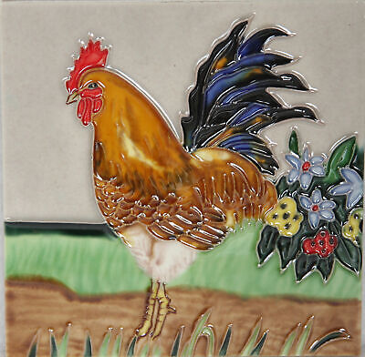 £12.90 • Buy Rooster 4 Ceramic Wall Art 15x15cm Plaque Tile Picture YH Arts Gift Cockerel