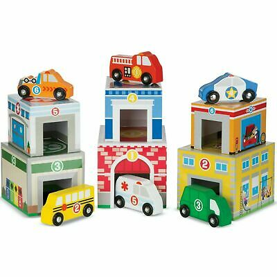 Melissa & Doug Nesting & Sorting Blocks, Stack Buildings/Wooden Vehicles, Age 3+ • 16.28£
