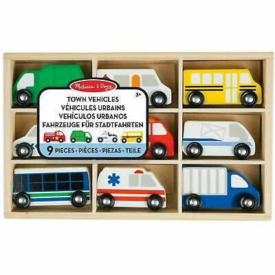 Melissa & Doug Wooden Town Vehicles Set In Wooden Tray, Imaginative Play, Age 3+ • 16.28£