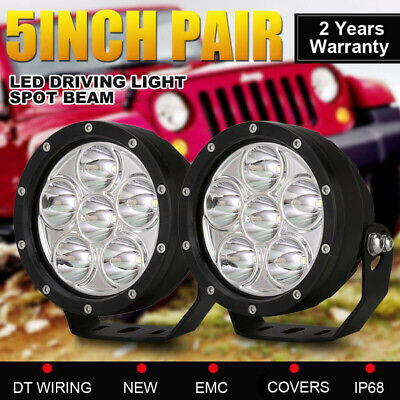 AU79.98 • Buy Pair 5inch LED Driving Lights Work Spot Spotlights Cree Round Offroad 4WD Black