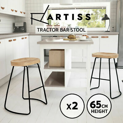 AU113.90 • Buy Artiss 2 X Vintage Tractor Bar Stools Retro Wooden Stool Industrial Chairs 65cm