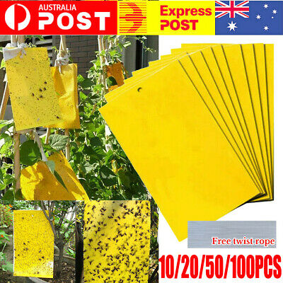 AU43.99 • Buy Up 100 Pc Yellow Sticky Glue Paper Insect Trap Catcher Killer Fly Aphids Wasp AU