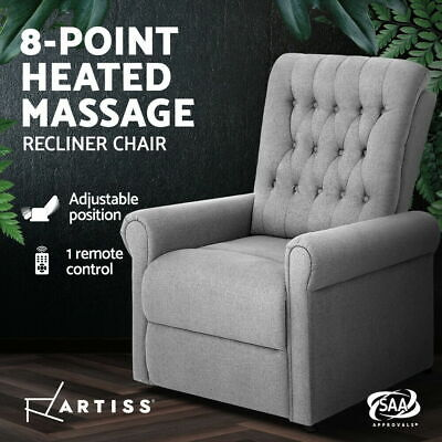 AU323.90 • Buy Artiss Massage Recliner Chair Electric Armchair 8 Point Heated Grey Fabric