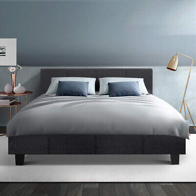 AU189.50 • Buy Bed Frame Double Full Size Base Mattress Platform Fabric Wooden Charcoal NEO