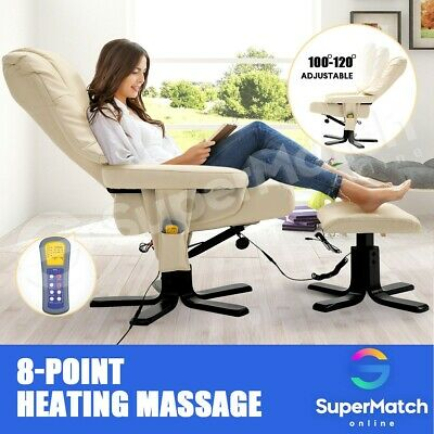 AU289.59 • Buy Recliner Chair Electric Massage Chair Leather Lounge 8-Point Heated Chair Beige