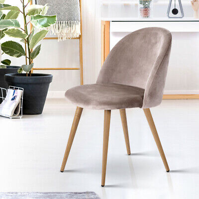 AU101.90 • Buy Artiss 2 X Dining Chairs Velvet Seat Chair Kitchen Cafe Furniture Iron Leg Grey