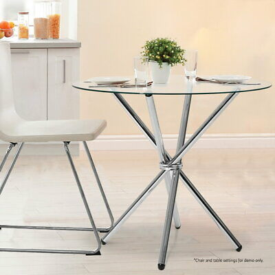 AU98.90 • Buy Artiss Dining Table Round 4 Seater Tempered Glass Tables Chrome Steel Legs 90cm