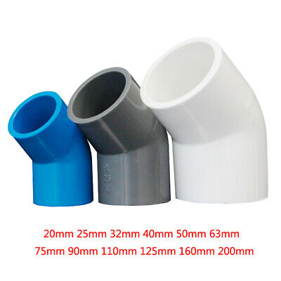 £1.85 • Buy PVC 20mm-200mm ID Equal Water Supply Pipe 45° Elbow Fittings Adapter Connector