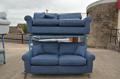 John Lewis Sofas Blue Fabric Two Piece Suite Pair Of Large 3 Seater Settees New • 1,899£