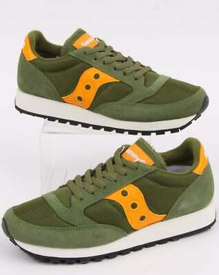 Saucony Jazz Vintage Trainer In Green & Mustard - Retro Classic Runner Shoes • 75£