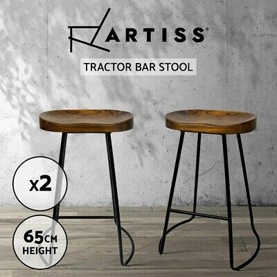 AU113.90 • Buy Artiss 2 X Vintage Tractor Bar Stools Industrial Backless Stool Chairs Set Black