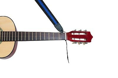 Childrens Blue On Black Strong Nylon Adjustable Guitar Strap Adult Kids Small  • 2.99£