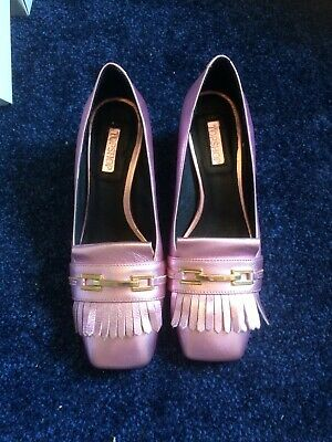Topshop Metallic Pink Mules Gucci Style Leather Shoes Fringing Block Heel BNWB 5 • 14.99£