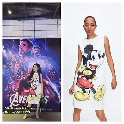 $32.90 • Buy 7/3 Zara © Disney Mickey Mouse Cartoon Cotton White T-shirt Dress L 5643/329