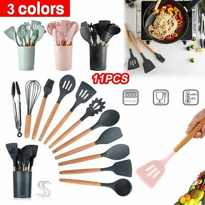 AU18.53 • Buy 11PCS/SET Kitchen Utensils Wooden Handle Silicone Cooking Set Cooking Tools S1