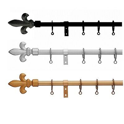 £24.99 • Buy Universal Extendable Metal Curtain Pole Fleur De Lys 13-1mm, No Cutting Required