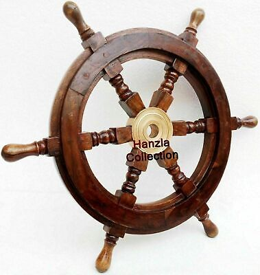 Nautical Ship Steering Wheel Pirate Wooden 18  Decor Wood Brass Wall Boat Gift • 29£