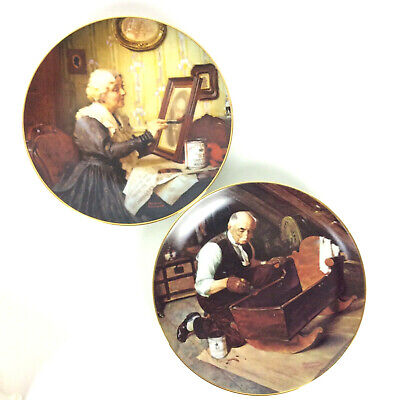 $ CDN39.99 • Buy Norman Rockwell Golden Moments 2 Plates Grandmas Love Grandpas Gift E Knowles