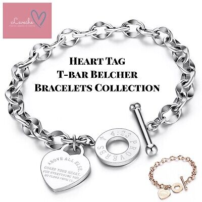 Silver Rose Gold Engraved Proverb Heart Charm Chunky Chain Bracelet & Gift Bag • 7.49£