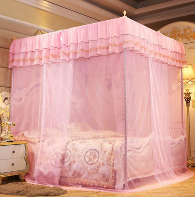 Sweet 4 Corners Post Bed Canopy Mosquito Net Twin Queen King Size Chic Ting1 • 35.38£