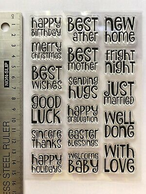 Clear Rubber Stamps Words Birthday Hugs Love Home Luck Christmas Baby Thanks Hug • 4.89£