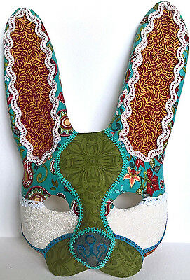 Patchwork Rabbit Mask - OOAK Hand Sculpted Paperclay - Masquerade - Hare Animal • 49.99£