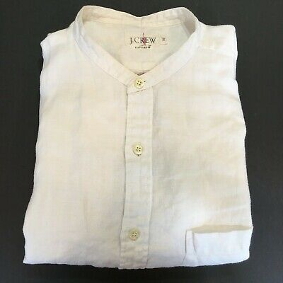 $19.88 • Buy J. Crew Button Front Linen Shirt Men's Large Or XL White Or Ivory Banded Collar