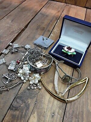 Joblot Of Mixed Scrap Jewellery Sterling Silver White Metal And Costume  • 4£