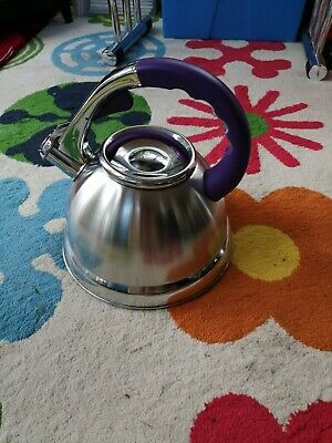 Stove Top Kettle. Heavyweight Stainless Steel. Purple Handle.  • 7£