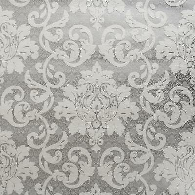 P+S White Grey Silver Traditional Damask Wallpaper Textured Embossed Vinyl • 9.99£