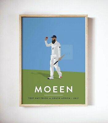Moeen Ali, Hat Trick Vs South Africa England Cricket Icon Player Print, A3 A4 • 14.99£