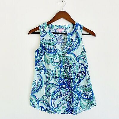 $19.99 • Buy Lilly Pulitzer Marlow Tank Top Keep It Currant Blue Green Fish Paisley Small
