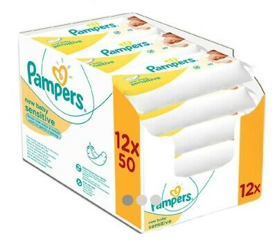 Pampers New Baby Sensitive Wet Wipes, Pack Of 12 (12 X 50 Pieces) • 23.99£