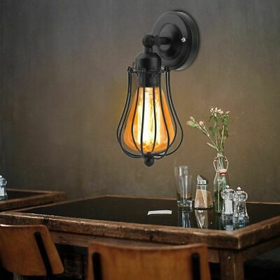 £8.59 • Buy E27 Retro Vintage Industrial Black Cage Wall Mounted  Lamp Rustic Sconce Light
