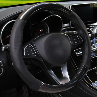 $ CDN29.56 • Buy 15  38cm Carbon Fiber Stitching Car Steering Wheel Cover Black Non-slip Parts S